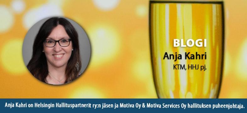 Yrityskulttuuria ja shampanjaa, Anja Kahrin blogikirjoitus.