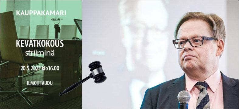 Juhana Vartiainen pitää kokousesitelmän Helsingin seudun kauppakamarin kevätkokouksessa 2021.