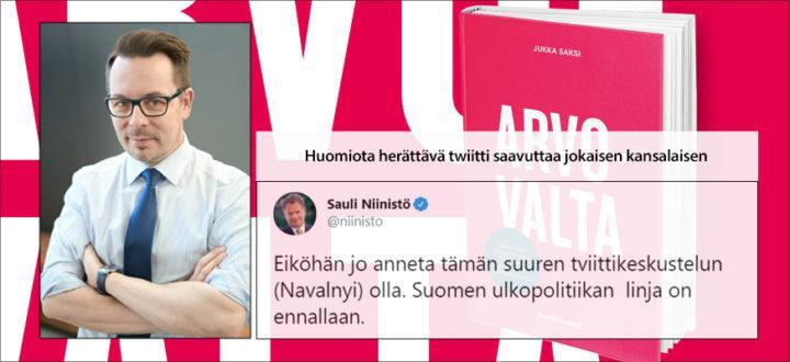 Jukka Saksi, Arvovalta kirjan kirjoittaja. Kirjan kustantaja Helsingin Kamari Oy.