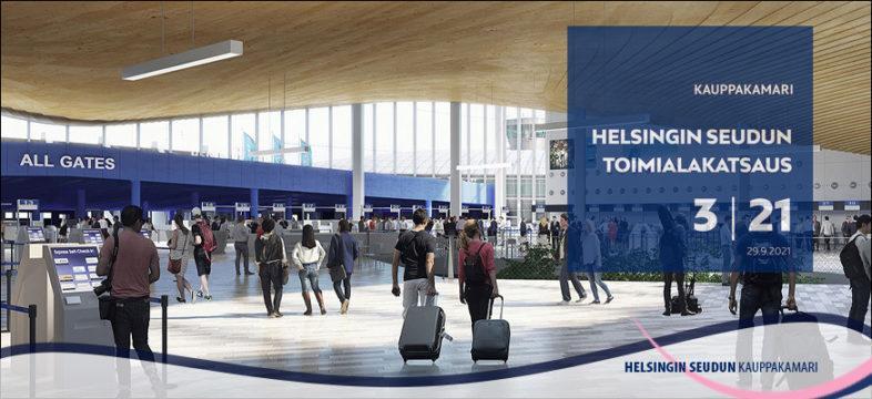 Finavia, havainnekuva Helsinki-Vantaan kehitysohjelmaan kuuluvasta terminaali 2:n laajunnuksesta. Toimialakatsauksen kansi teemana matkailu.