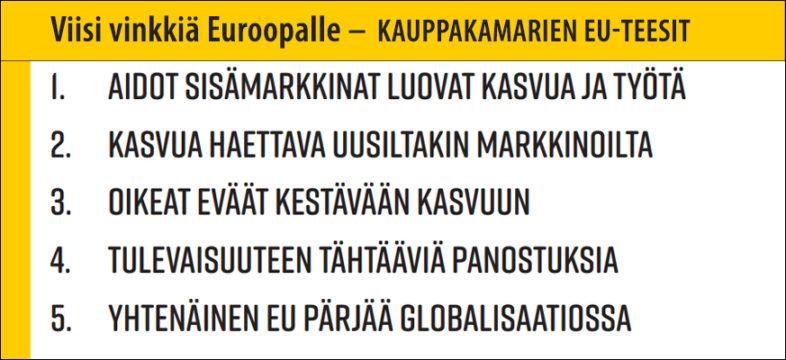 Kauppakamarien EU-teesit