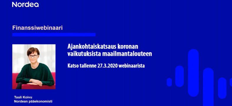 pääekonomisti Tuuli Koivu, Nordea, webinaari