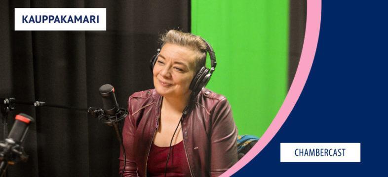 Katleena Kortesuo podcast-studiossa