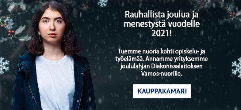 Rauhallista joulua ja menestystä vuodelle 2021! Tuemme nuoria kohti opiskelu- ja työelämää. Annamme yrityksemme joululahjan Diakonissalaitoksen Vaoms-nuorille.
